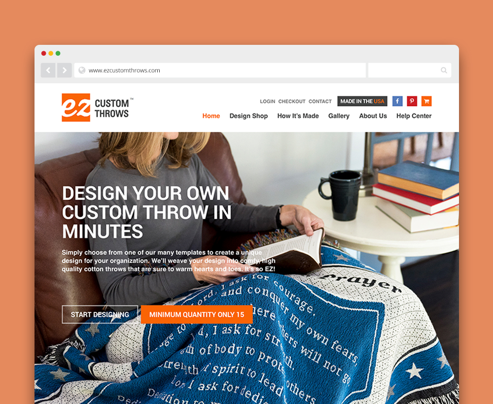 EZ Custom Throws website - designed by ACS Creative 301-528-5575