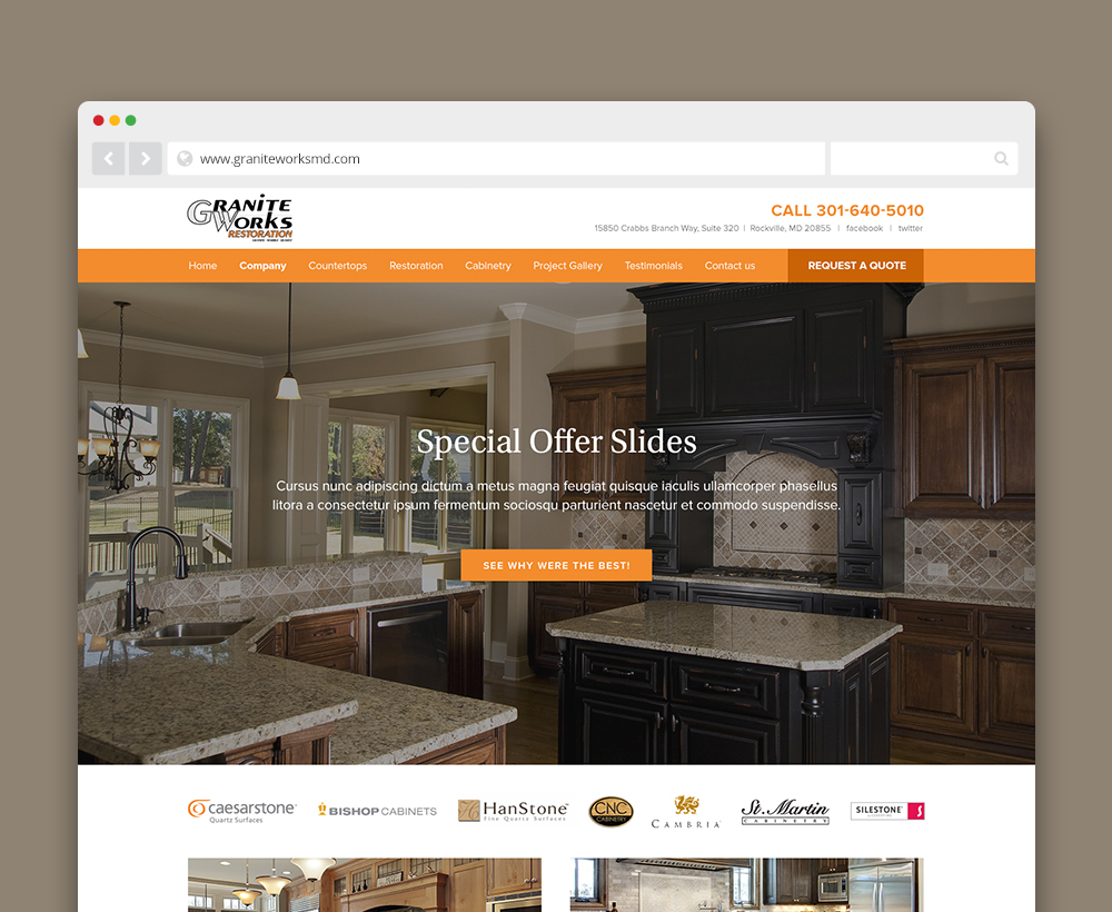 Granite Works website - designed by ACS Creative 301-528-5575