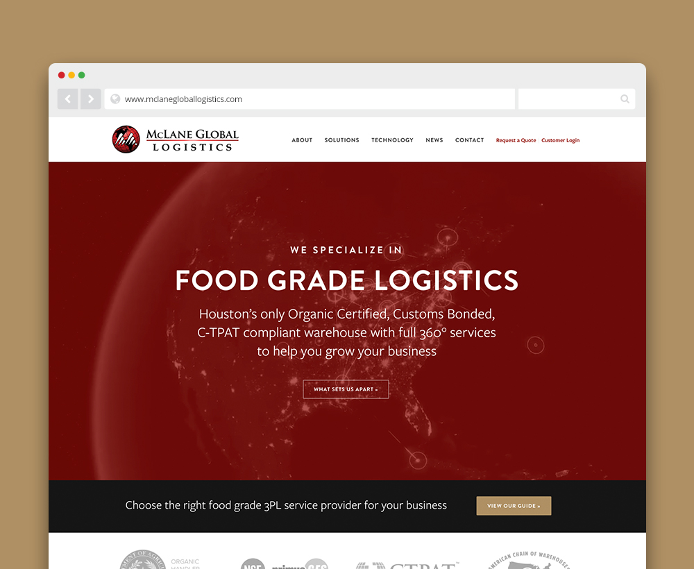 McLane Global Logistics website - designed by ACS Creative 301-528-5575