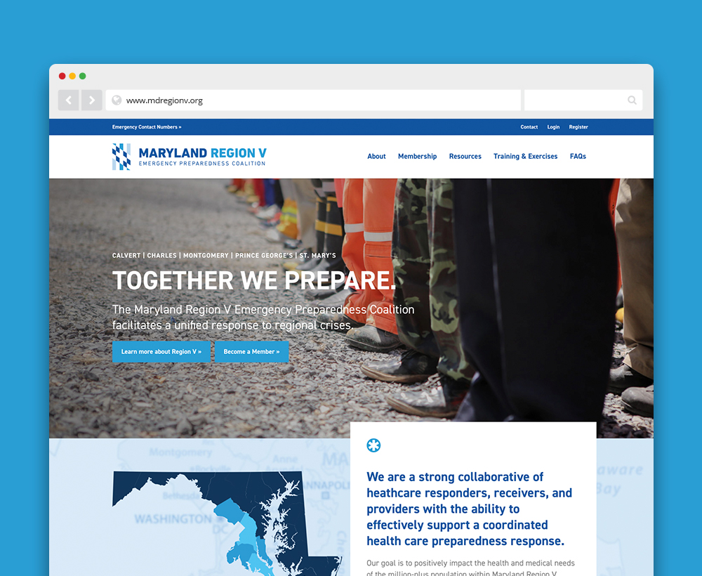 Maryland Region V Emergency Preparedness Coalition website - designed by ACS Creative 301-528-5575