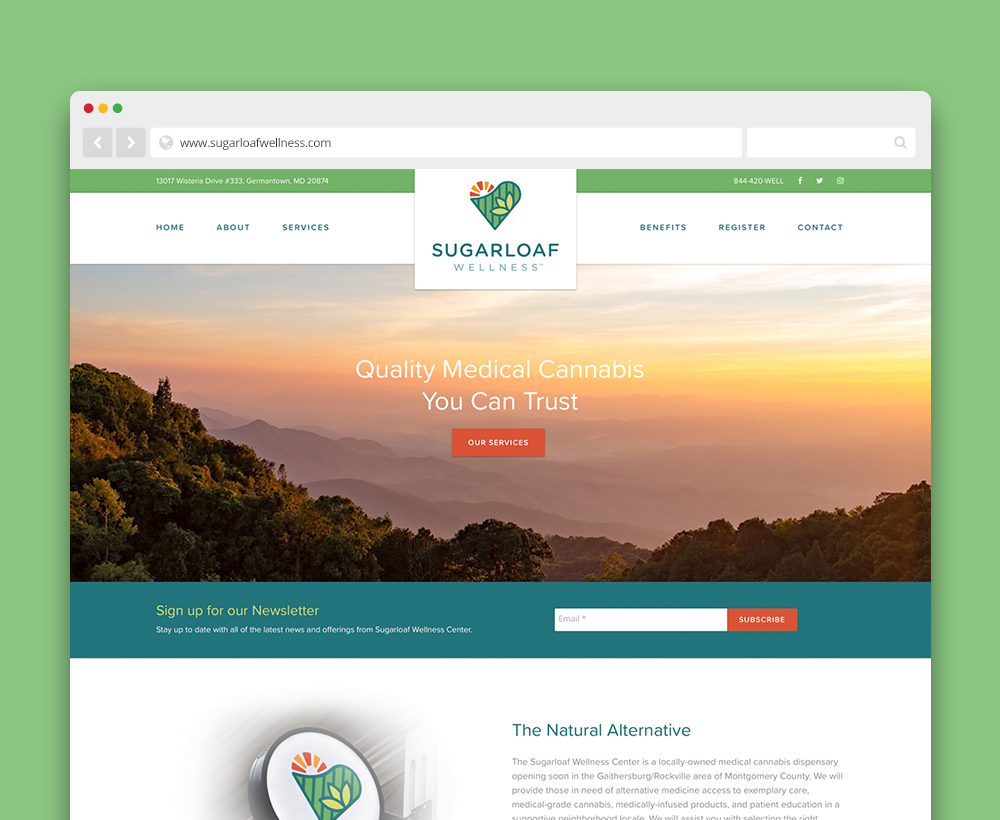 Sugarloaf Wellness Center website - designed by ACS Creative 301-528-5575